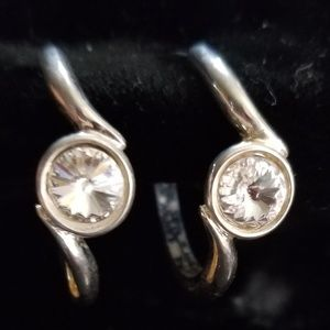 Rivoli hoop earrings -NOS , clear, silvertone